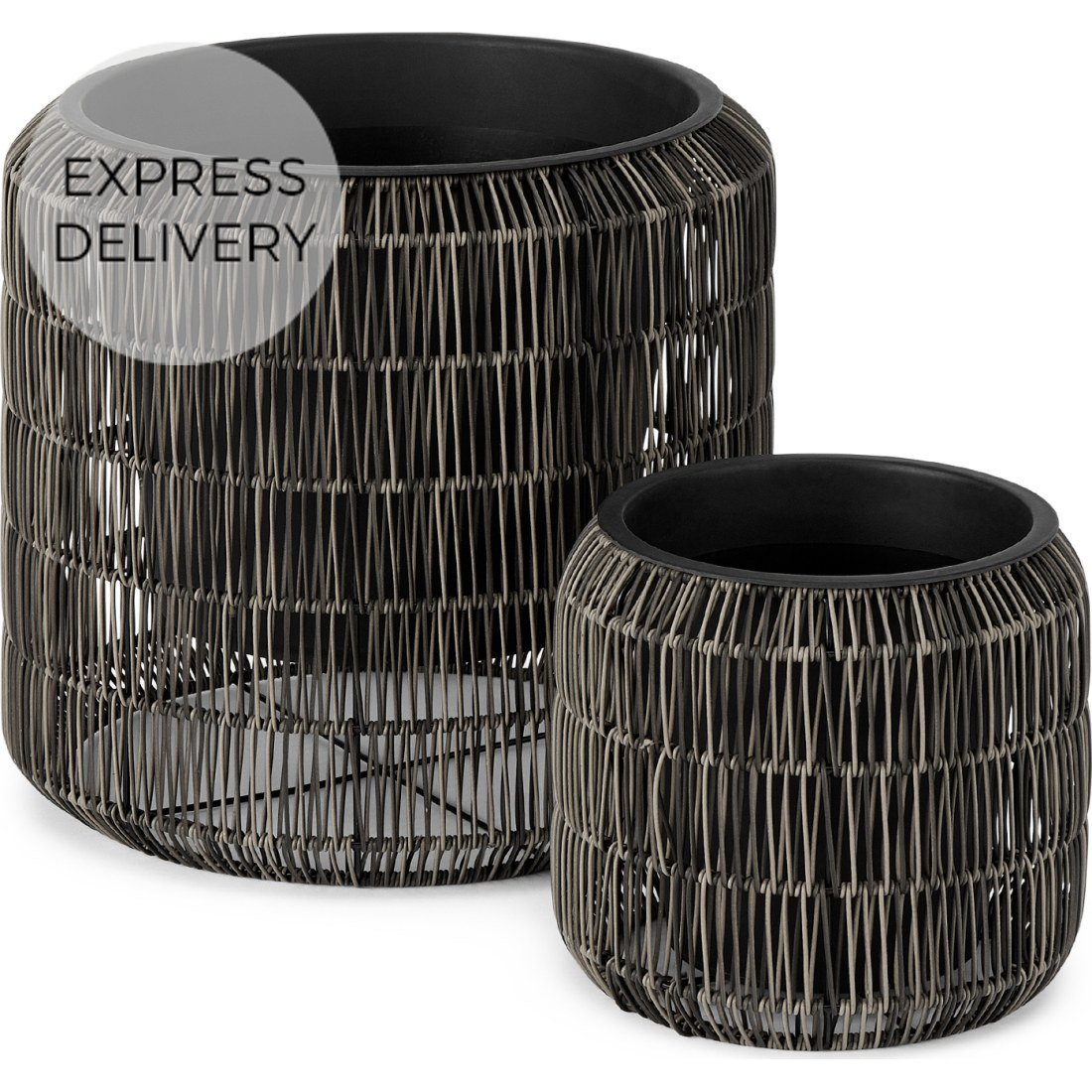 image-Nadda Set of 2 Round Polyrattan Plant Stands, Brown