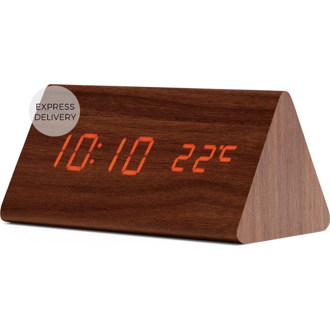 image-Odette Triangle Digital Alarm Clock, Walnut