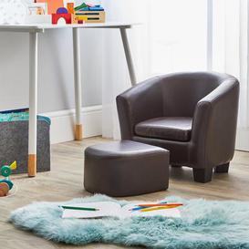 image-Kids Brown Tub Chair and Footstool Brown