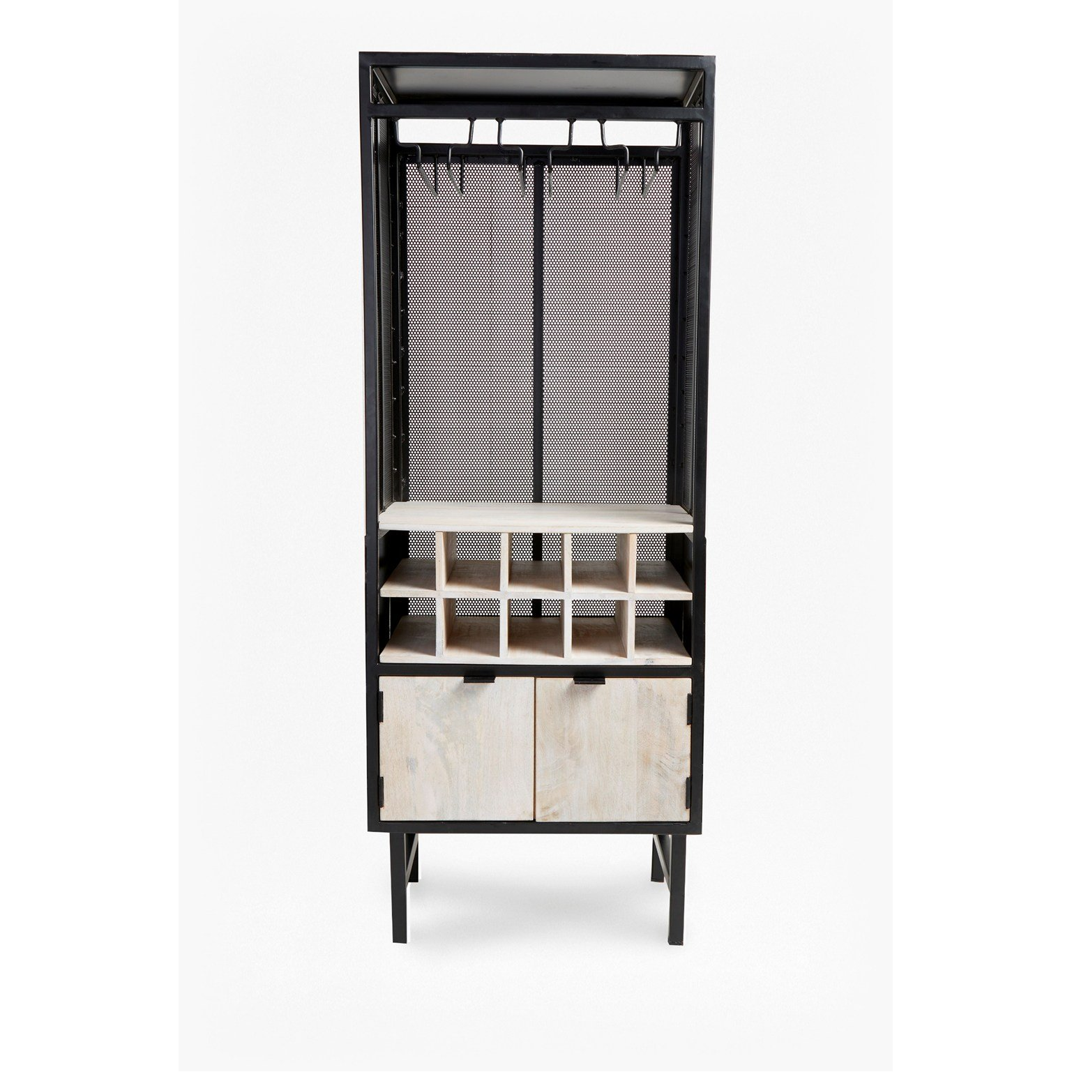 image-Wine Cabinet - black and natural