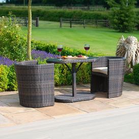 image-Maze Rattan Garden Furniture Balcony Brown Compact Round Bistro Set - PRE ORDER
