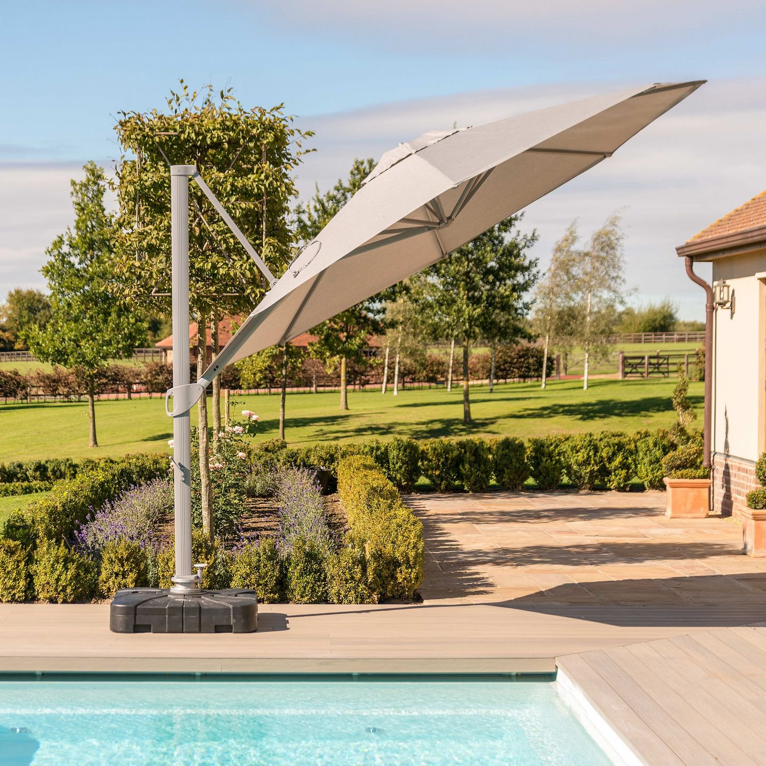 image-Maze Rattan Garden Furniture Zeus LED 3.5M Round Cantilever Parasol in Taupe