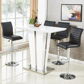 image-Memphis Glass Bar Table In High Gloss White And 4 Ripple Stools