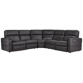 image-Slate Leather Sofas - Modular 5 Seat Corner Recliner - Samson Range - Oak Furnitureland