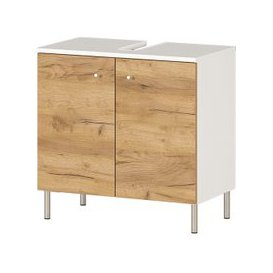 image-Dallas Basin Vanity Unit In White And Navarra Oak