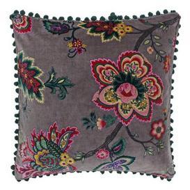 image-Paoletti Palampur Floral Velvet Cushion Mink