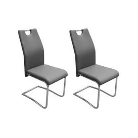 image-Claren Grey Faux Leather Dining Chair (Pair)
