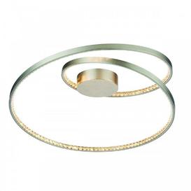 image-LED Flush Ceiling Light In Matt Nickel Plate And Clear Crystal Glass