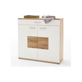 image-Viola Wooden Shoe Cabinet Wide In Oak And Matt White