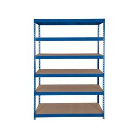 image-Rapid 3 Shelving With 6 Chipboard Shelves 1200wx2000h (Blue), Blue, Free Next Day Delivery