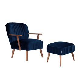image-Bloomsbury Velvet Armchair & Footstool, Royal Blue