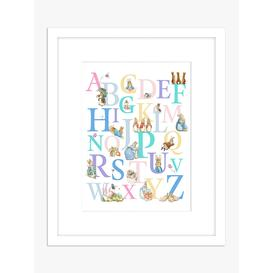 image-Beatrix Potter - Peter Rabbit Children's Alphabet Framed Print & Mount, 53.5 x 43.5cm, White/Multi