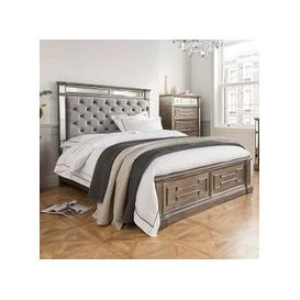 image-Alloa Mirrored Face King Size Bed In Silver And Grey