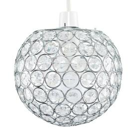 image-Arrington 18cm Metal Sphere Pendant Shade Rosdorf Park Colour: Chrome, Bulb Type: 6W BC B22 GLS