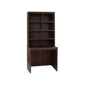 image-Small Office Rectangular Desk With Hutch Bookcase, Walnut, Free Standard Delivery