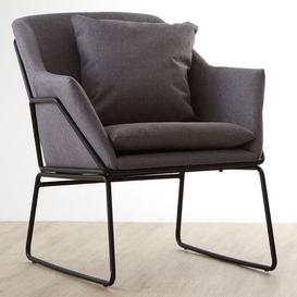 image-Porrima Fabric Upholstered Bedroom Chair In Grey