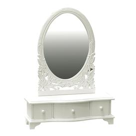 image-Lille Shabby Chic White Painted Dressing Table Mirror