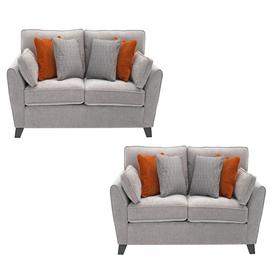 image-Vida Living Furniture Cantrell Silver Fabric 2 Seater Sofa Set