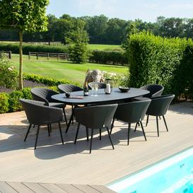 image-Maze Lounge Outdoor Fabric Ambition Charcoal 8 Seat Oval Dining Set