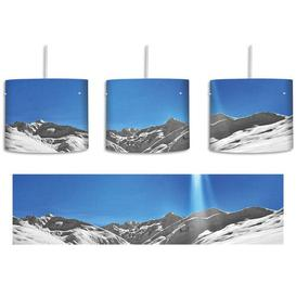 image-Wide White Mountain Landscape in the Winter 1 Light Drum Pendant East Urban Home Shade colour: Blue/Grey