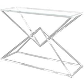 image-Prism Glass and Chrome Console Table