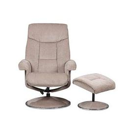 image-Bruges Fabric Swivel Chair and Footstool - Beige