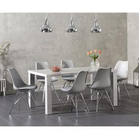 image-Atlanta 160cm Light Grey High Gloss Dining Table with Celine Chrome Leg Chairs