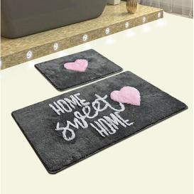 image-Plainville 2 Piece Rectangle Non-Slip Bath Mat Set Happy Larry