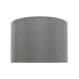 image-16in 2T Faux Silk Cylinder Shd Grey Silver Inside - Dual Fit / Silver