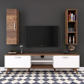 "image-Hyrum Entertainment Unit for TVs up to 55"" Brayden Studio Colour: White/Walnut/Silver"