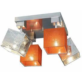 image-Partee 4 Light Ceiling Spotlight Brayden Studio Frame colour: Dark brown, Shade colour: Orange/Silver
