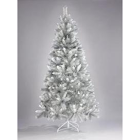 image-6Ft Silver Grey Sparkle Christmas Tree With Frosted Tips