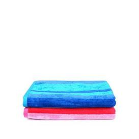 image-Downland Pair Of Striped Super Soft Beach Towels &Ndash Pink And Blue