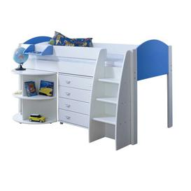 image-Cypress Mid Sleeper Bed with Extension Desk & Chest of Drawers Isabelle & Max Colour (Bed Frame): White/Blue