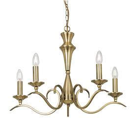image-Bardot 5-Light Chandelier in antique brass - 90430.