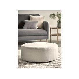 image-Scandi Round Ottoman - Smoke Linen Cotton Blend