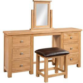 image-Dorset Oak Double Pedestal Dressing Table With Stool
