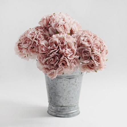image-6pk Artificial Rose Pink Bouquet 22cm Dusky Pink