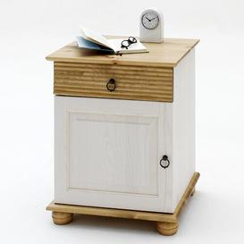 image-Kenna Bedside Table Brambly Cottage Colour (frame / table top): White/Antique colours