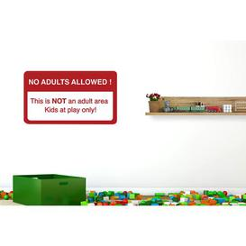 image-No Adults Allowed This Is Not an Adult Area Kids at Play Only Wall Sticker Happy Larry Size: Medium, Colour: Dark Red