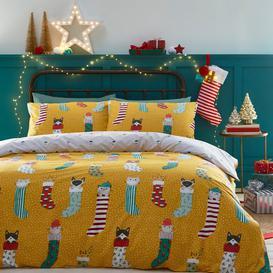 image-Furn. Meowy Christmas Duvet Cover and Pillowcase Set Ochre