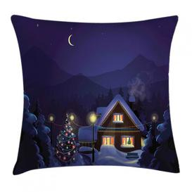 image-Leoni Christmas Winter Home and Tree Outdoor Cushion Cover Ebern Designs Size: 40cm H x 40cm W
