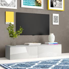 """image-Omar TV Stand for TVs up to 65"""" Zipcode Design Colour: White/High gloss white, Includes lighting: Yes"""