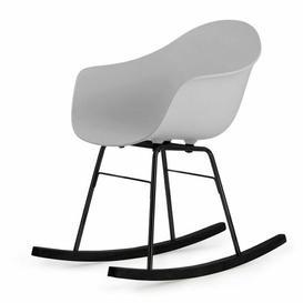 image-Ta Er Rocking Chair - Cream Armchair - Chrome Frame Blatt Colour: Grey