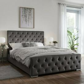 image-Anakin Buckingham Upholstered Bed Frame with Diamante Buttons Rosalind Wheeler Colour: Dark Grey Soft, Size: Kingsize (5')