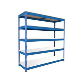 image-Rapid 1 Heavy Duty Shelving With 5 Melamine Shelves 2440wx1980h (Blue), Blue, Free Next Day Delivery