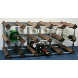 image-Liddle 15 Bottle Wine Rack Wrought Studio Colour: Walnut Stained Pine / Galvanised Steel
