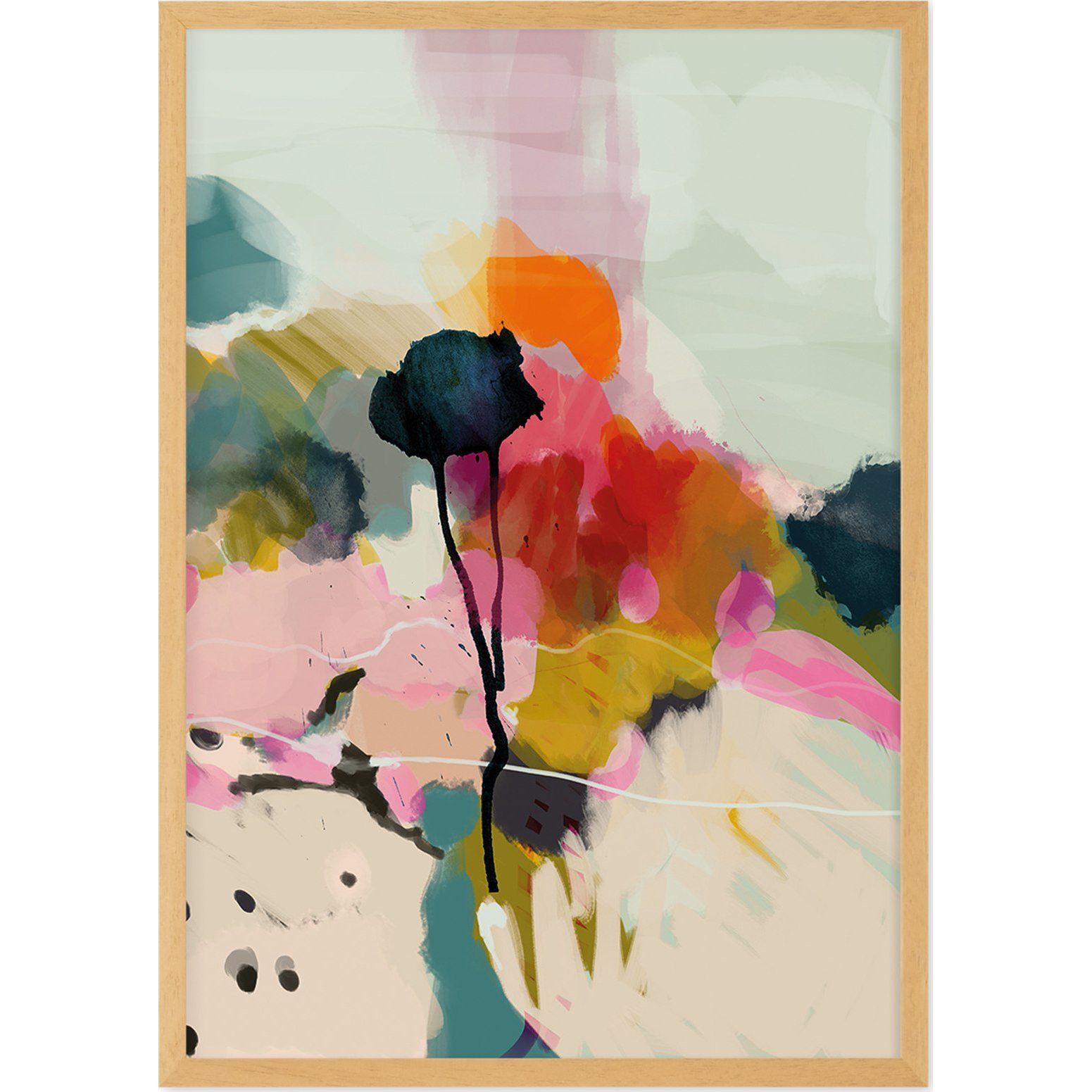 image-Abstract Landscape Floral Print Framed Wall Art Print A3, Multi