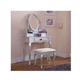 image-Lumberton Dressing Table Silver & Pine 3 Drawer With Stool