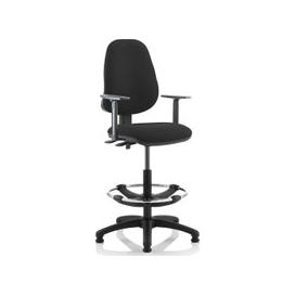 image-Lunar 2 Lever Draughtsman Chair (Adjustable Arms), Black
